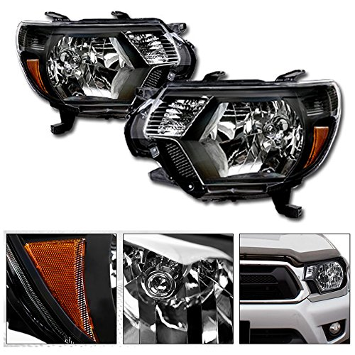 Jdm Crystal Black - VXMOTOR for 2012-2015 Toyota Tacoma - OE Factory Style JDM Black Housing Crystal Clear Head Lights Headlights Headlamps with Turn Signal Parking Light Lamp Amber Pair NB