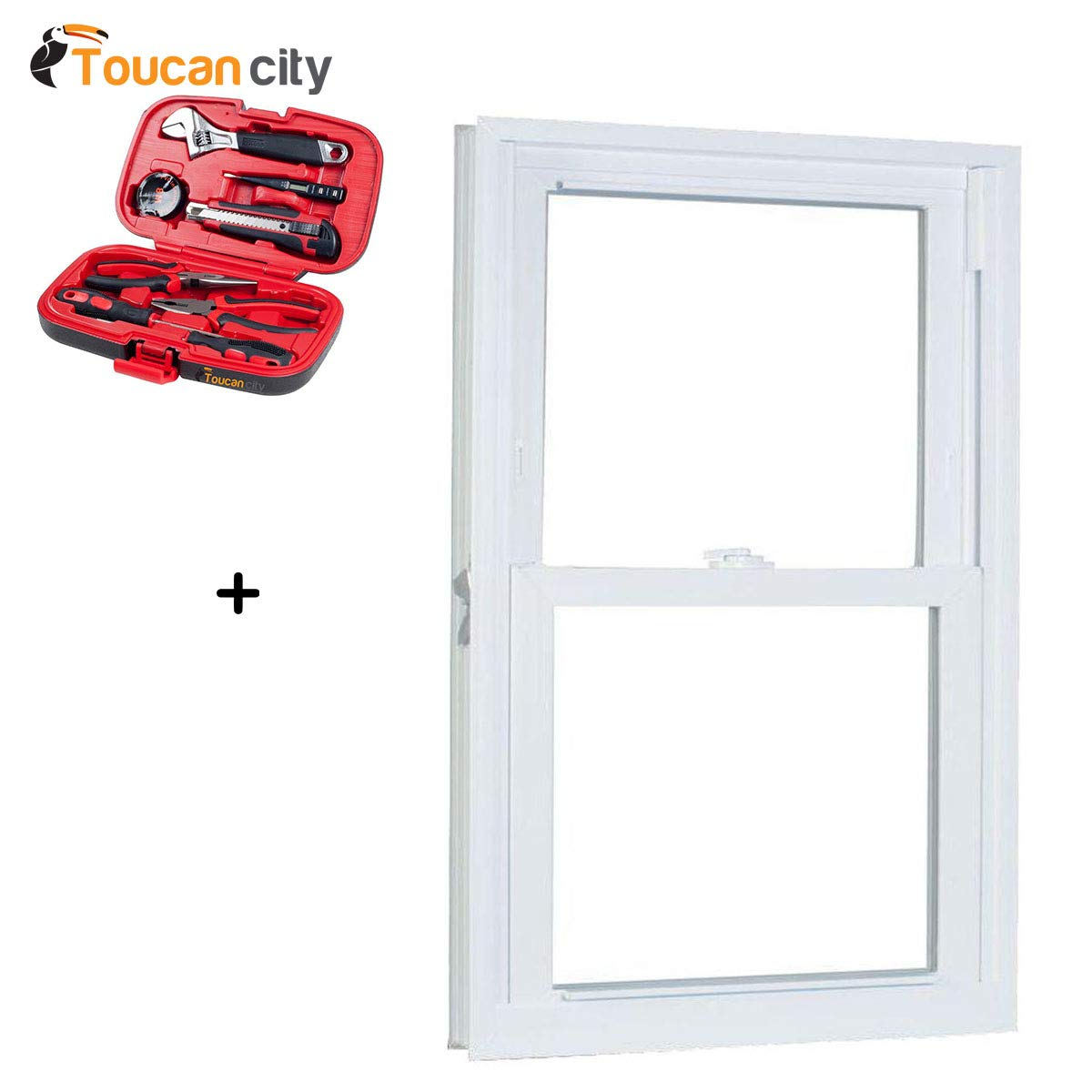 Toucan City Tool Kit (9-Piece) and American Craftsman 27.75 in. x 65.25 in. 70 Series Pro Double Hung White Vinyl Window with Buck Frame 2866786