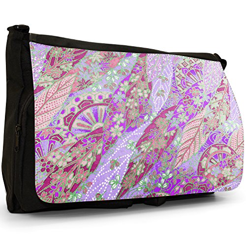Laptop School Canvas Bag Pink Japanese Shoulder Black Leaf Fan Large Grunge Messenger xxqvpzgw