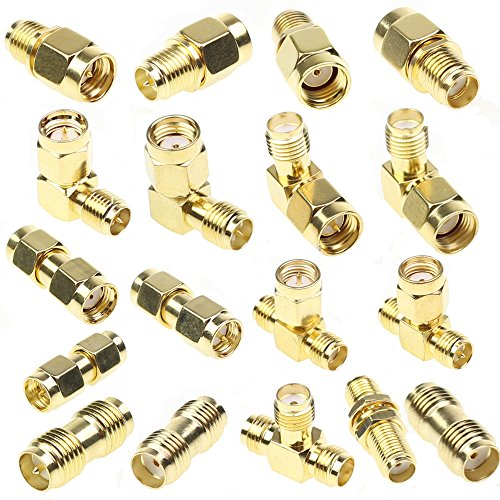 SMA Connector Kits Set 18 in 1 Adapter SMA RP SMA Male and Female RF Coax Coupling Nut barrel Connector Converter For WIFI Antenna / FPV Drone / Extension Cable -
