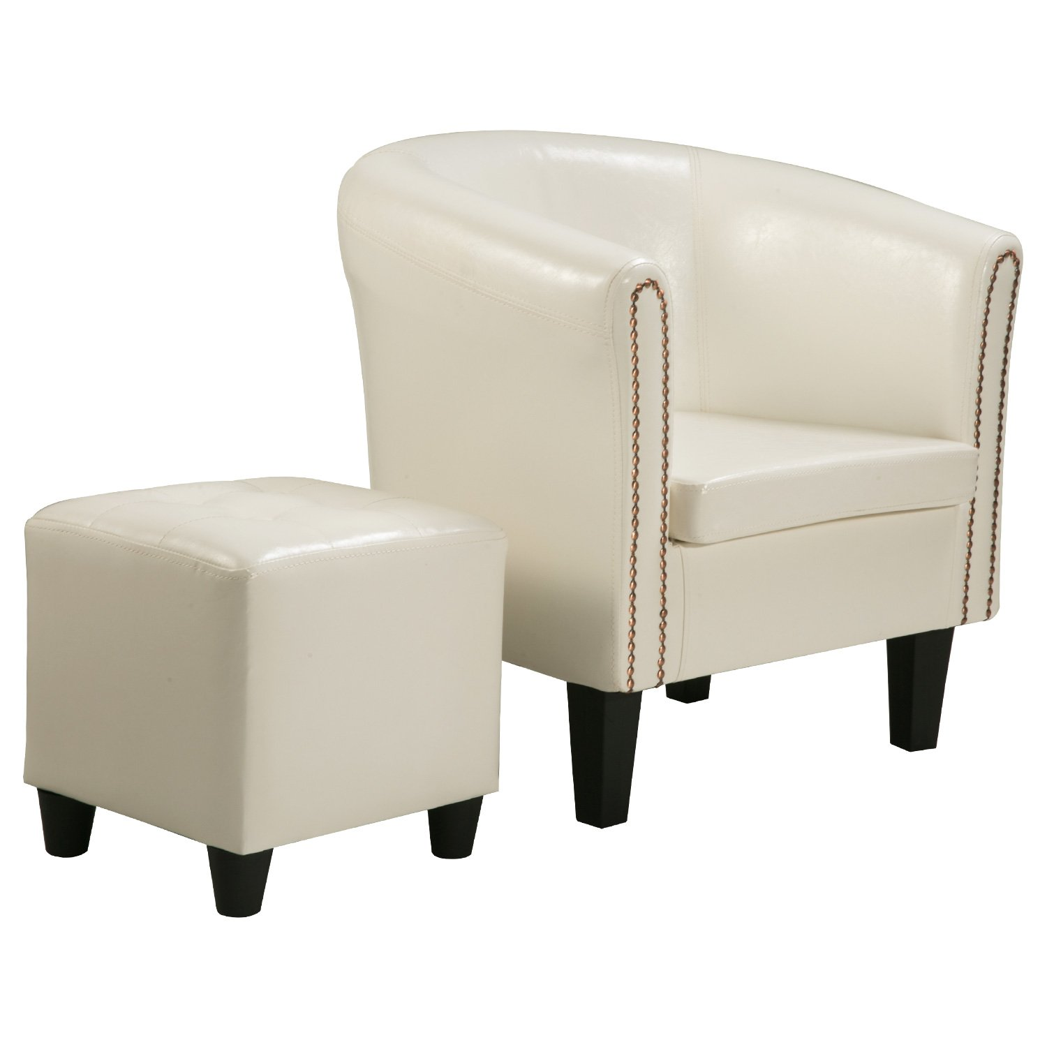 Harper&Bright designs Armchair Upholstered Living Room Club Chair with PU Leather and Ottoman(White) by Harper&Bright Designs (Image #2)