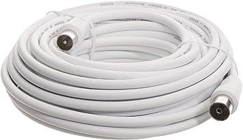 Hama 00011903 - Cable de Antena, 10 m, Color Blanco