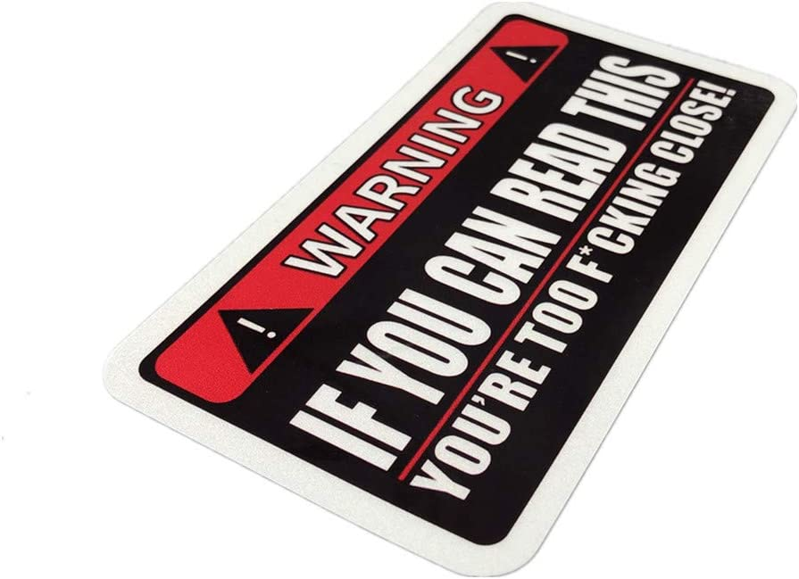 Horayten 2X Car Styling Vinyl Decal Warning If You Can Read This Too Close Safety Drive Keep Distance Auto Window Tail Sticker 140x75mm
