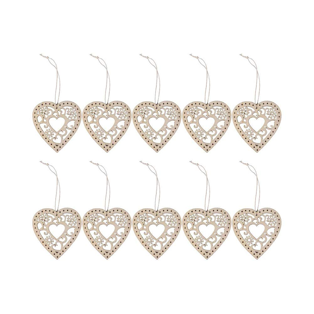10pcs 8cm Hollow Heart Shape Ornaments Xmas Tree Hanging Decoration Festival Decotative Pendant with Lanyard Christmas Home Decoration Accessory