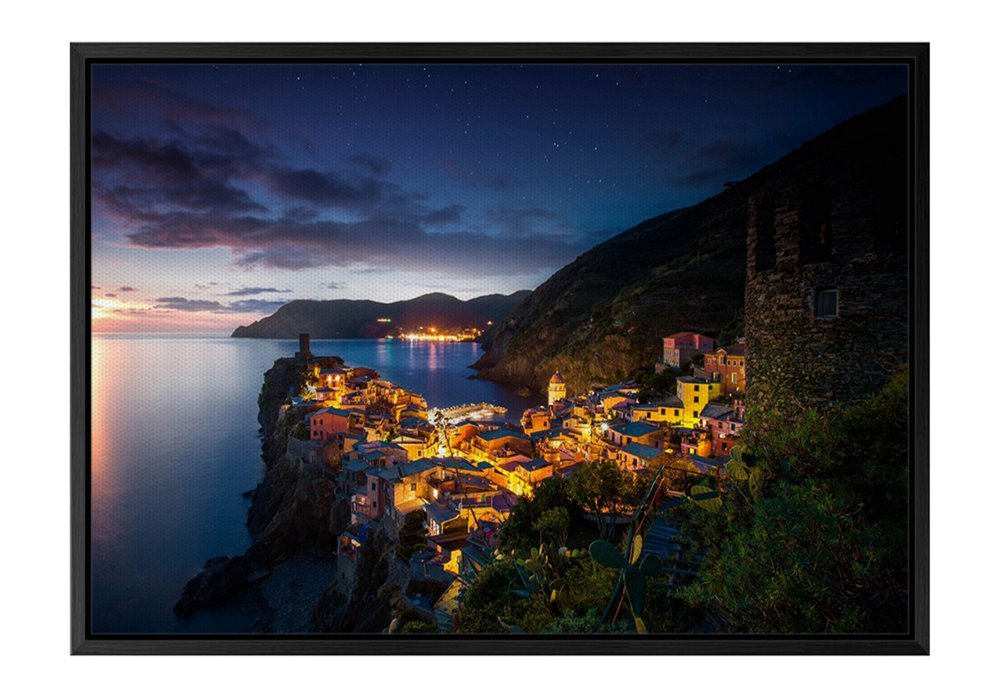 Vernazza Italy Night Evening Sunset Black Wooden Frame Art Print Canvas Poster, Home Wall Decor(12x16x1.4 inch)