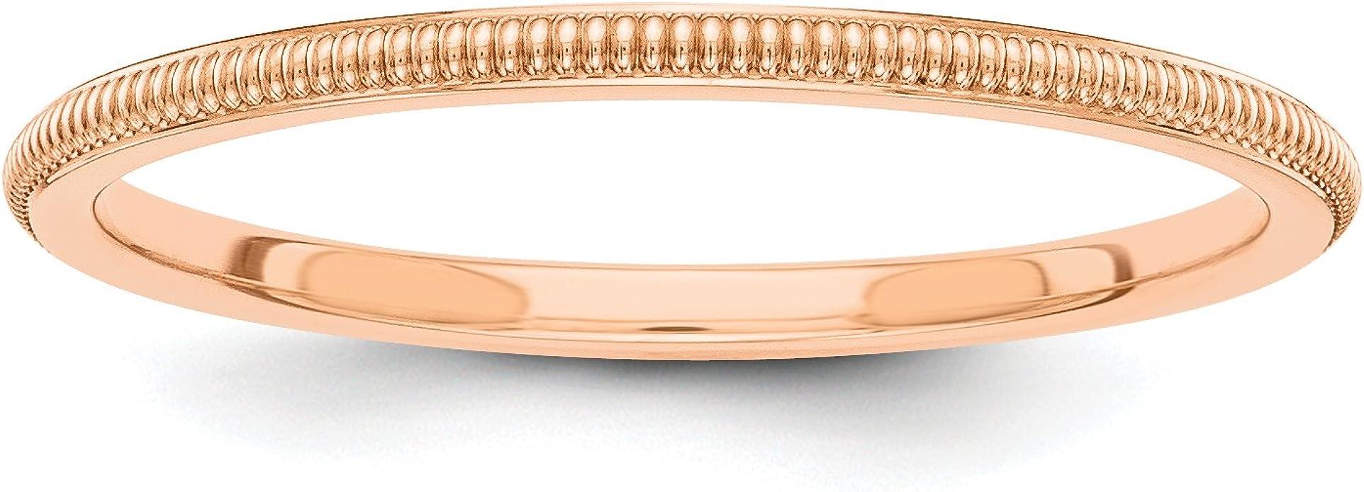 14k Rose Gold 3mm Milgrain Half-Round Men/'sLadies Wedding Band Ring