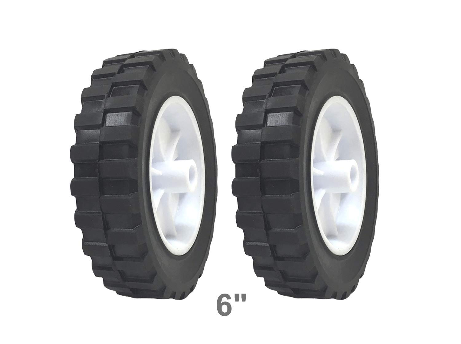 2 Pack - Solid Rubber Flat Free Tire 6'' x 1.5'' Hand Truck Wheel - - 1/2'' Axle Hole - 70 lbs Capacity
