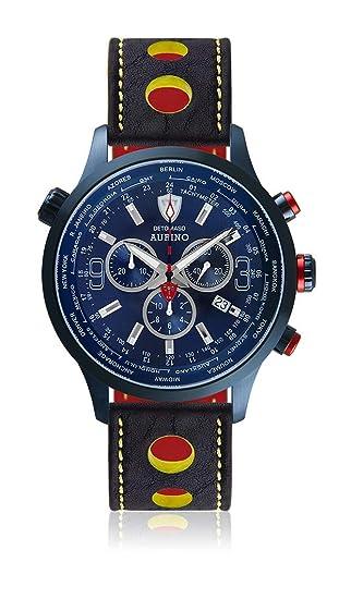 DETOMASO AURINO Reloj Caballero Cronógrafo Analógico Cuarzo Azul Racing Correa de Piel Esfera Azul Oscuro DT1061-M-820: Amazon.es: Relojes