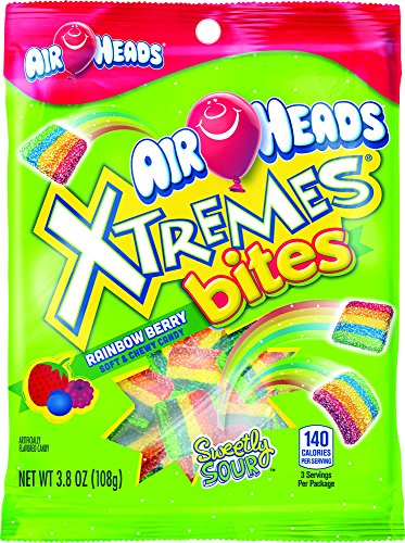 AirHeads Xtremes Bites Sweetly Sour Candy Peg Bag, Rainbow Berry, Non Melting, 3.8 Ounce (Bulk Pack of -
