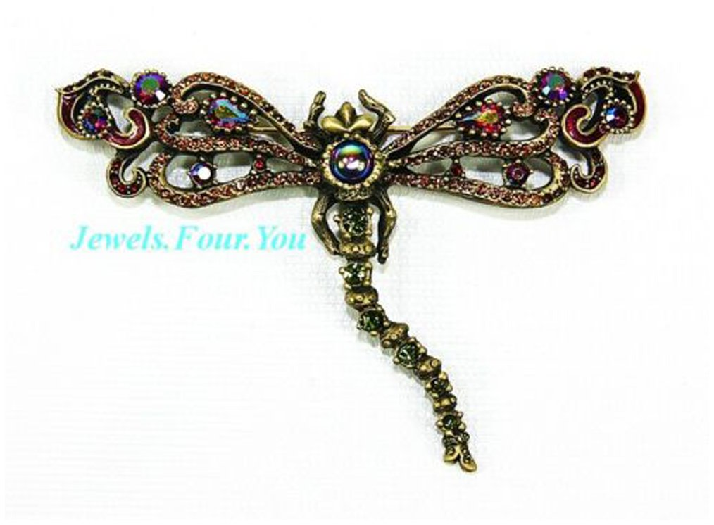 JAY STRONGWATER XLARGE 4'' WIDE DRAGONFLY PIN BROOCH SWAROVSKI NEW MADE IN USA