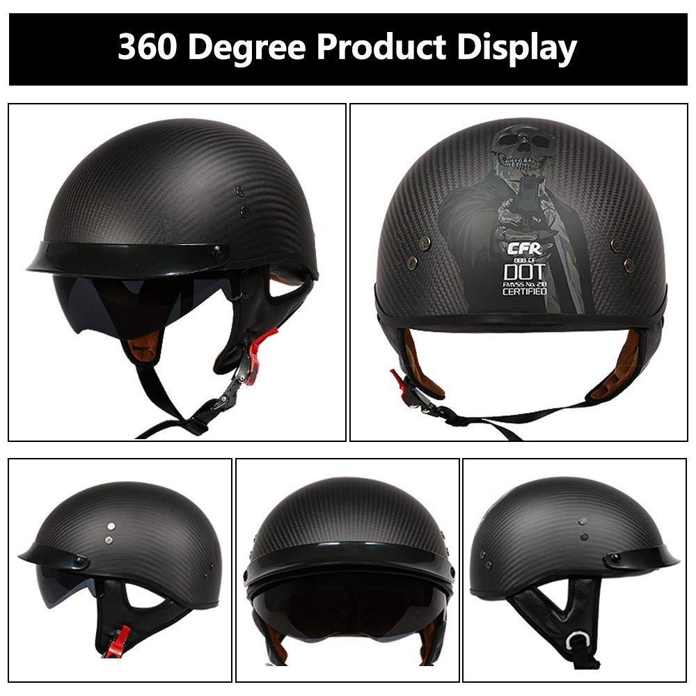 G-AVERIL Carbon fibre Half Motorcycle Helmet Cruiser Micrometric Buckle DOT Certified Matt Black