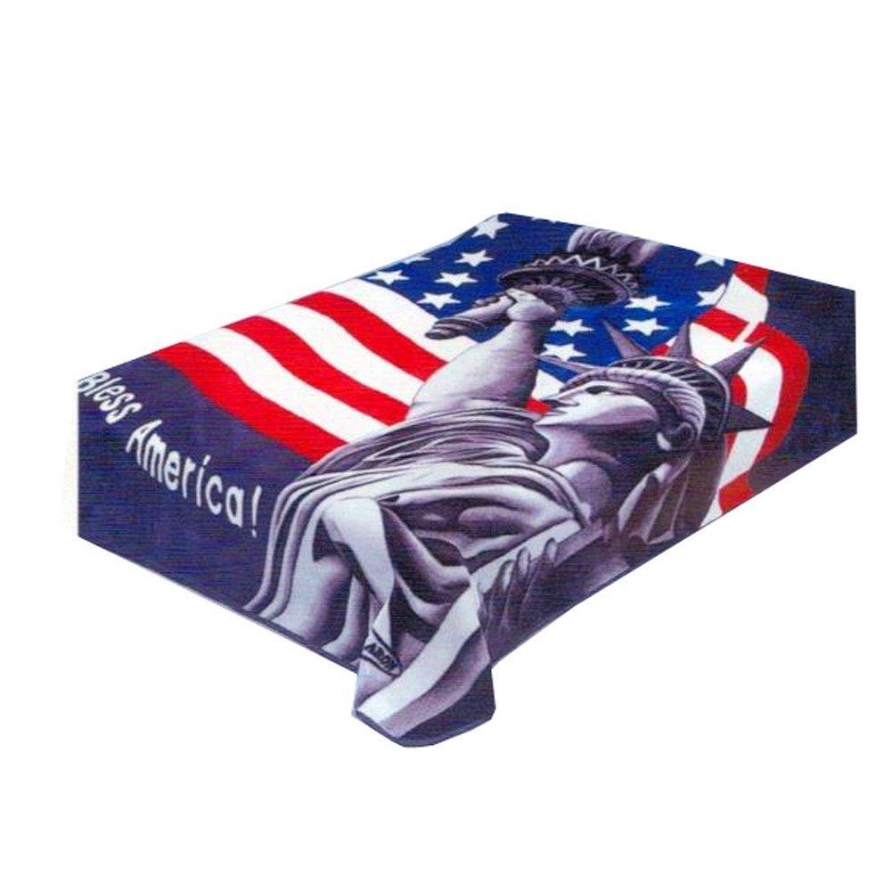 BRAND NEW KING GOD BLESS AMERICA USA FLAG SOLARON KOREAN MINK BLANKET