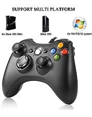 Xbox 360 Controlador de Gamepad Joypad con Vibración para PC Windows XP/7/8/1 Negro Mando