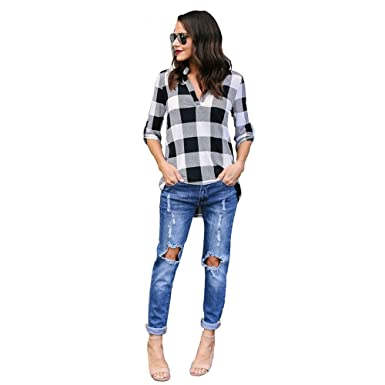 adcc43fb WINWINTOM Scottish Plaid Checked Oversized Buttons Shirts, Denim Blouse  Ladies Long Sleeve Casual Stylish Soft Cotton Shirts Tops Blouse:  Amazon.co.uk: ...