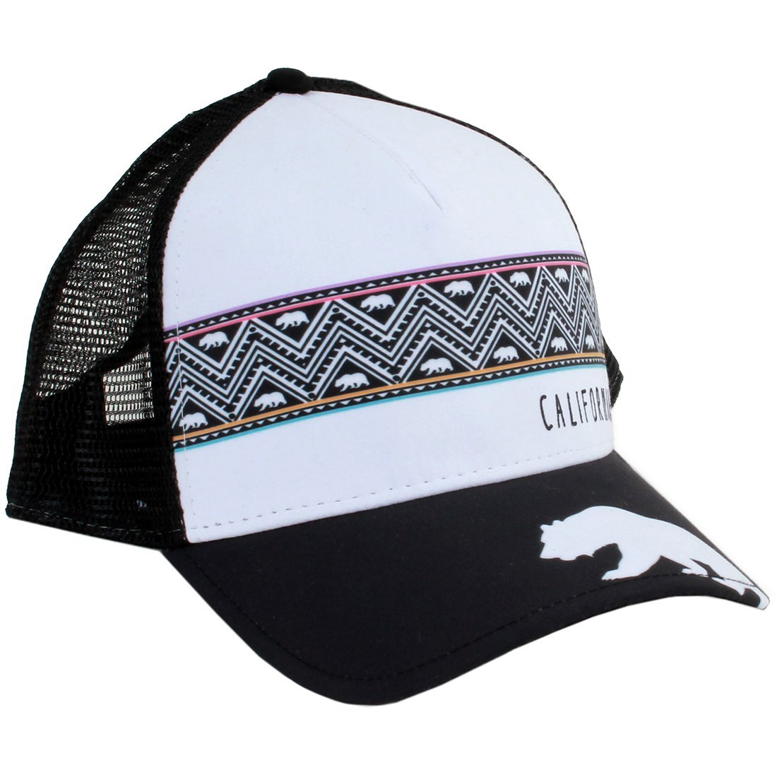 Dolphin Shirt Co California Bear Tribal Snapback Hat Curved Bill Black Mesh  at Amazon Men s Clothing store  466125b6d23
