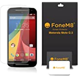 FoneM8® - 2014 Motorola Moto G 2 (2nd Gen) Screen Protector Includes Microfibre Cleaning Cloth And Application Card (5 Pack Crystal Clear)
