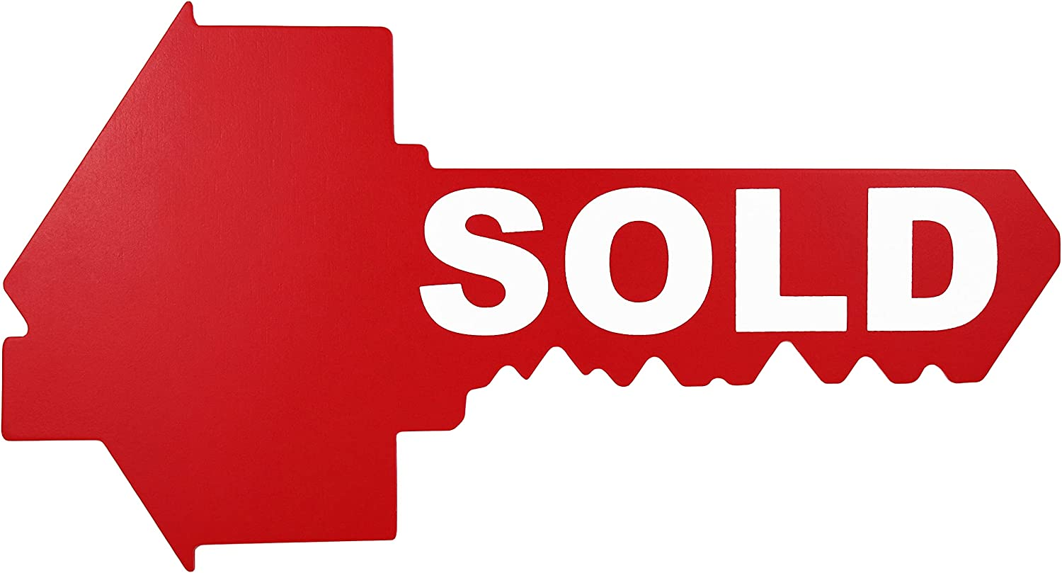 Sold Sign for New Home Owners - Key Shaped - Real Estate Agent Supplies - Just Sold - Social Media Photo Props for Realtors and Home Owners - Our New Home Sign - Closing Sign - First House