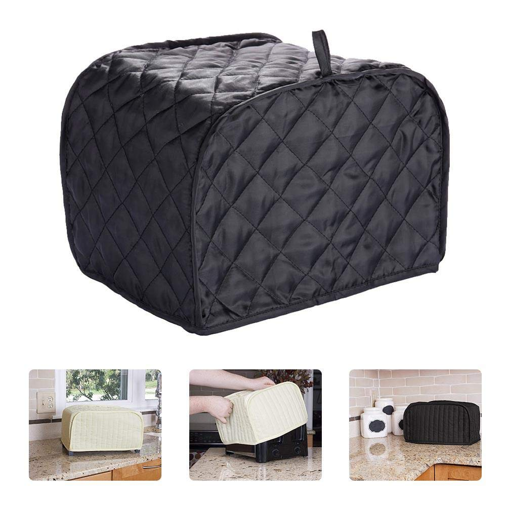 KOBWA Two/Four Slice Toaster Oven Cover,Toaster Protectors,Polyester Quilted Toaster Oven Broiler Appliance Cover,Protection Anti-Sputtering and Dustproof Machine Washable-Black
