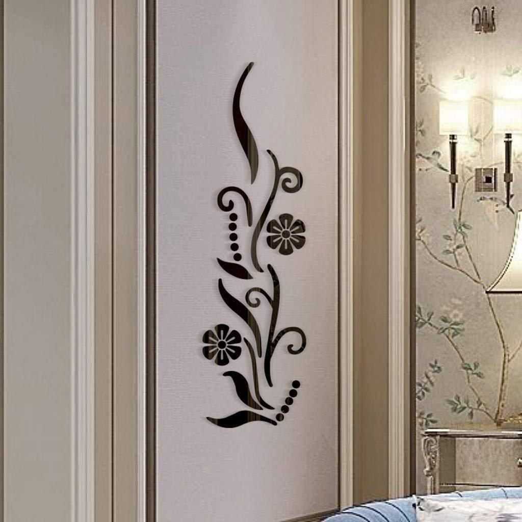 YWLINK Flor BañO AcríLico Espejo Decorativo Etiqueta Arte De ...