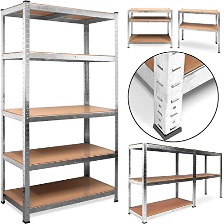 Deuba® Heavy Duty Industrial Shelving Unit 5 Tier Garage Metal Racking  Galvanized Storage Shelves Steel