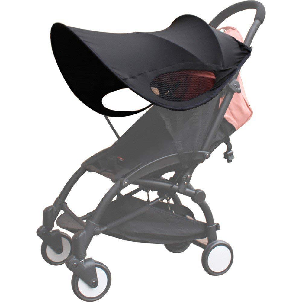 ZLMI Version of Baby Stroller Sun Visor Carriage Sun Shade Canopy Cover for Prams Stroller Accessories Car Seat Buggy Pushchair Cap Sun Hood Black