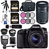 Canon EOS 80D DSLR Camera with 18-55mm Lens + Canon EF-S 55-250mm Lens + 58mm Wide Angle Lens + 58mm 2x Lens + Canon 100ES EOS Shoulder Bag Bundle