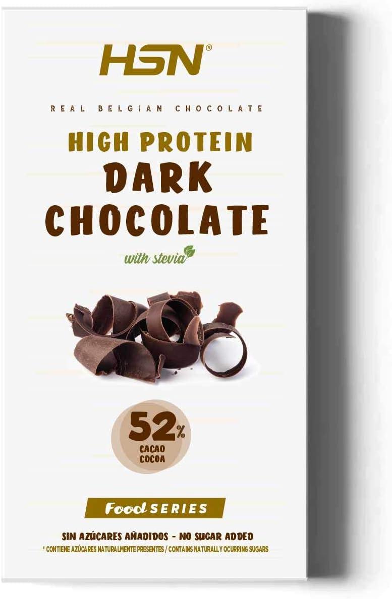Tableta de Chocolate Hiperproteico de HSN | High Protein Dark Chocolate | Rico en Proteína | Edulcorado con Stevia | Vegetariano, Sin Azúcar, Sin ...