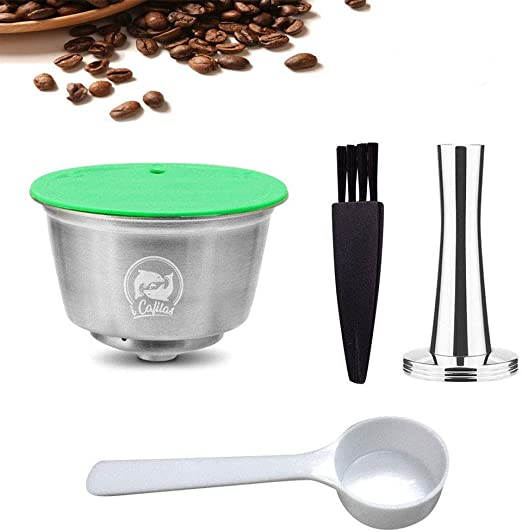 Volwco Filtros Cápsulas de Café para Dolce Gusto, Cápsulas de Café Reutilizables de Acero Inoxidable con 1 Pincel, 1 Cuchara, 1 Pisón de Café -Versión de Actualización: Amazon.es: Hogar