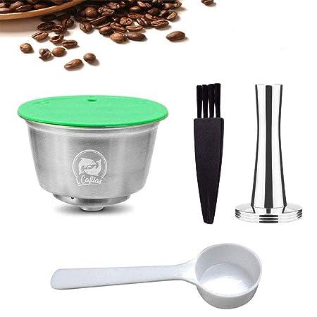 Volwco Filtros Cápsulas de Café para Dolce Gusto, Cápsulas de Café Reutilizables de Acero Inoxidable con 1 Pincel, 1 Cuchara, 1 Pisón de Café -Versión ...