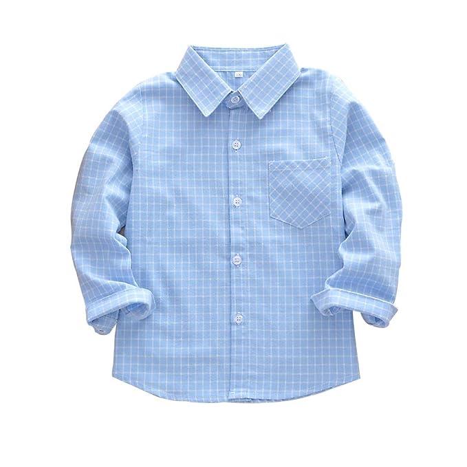 af701bdaf Kid Girl Boy Long Sleeve Button Down Plaid Flannel Shirt Light Blue Tag  100-US