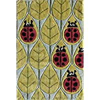Momeni Rugs LMOJULMJ13LBR2030 Lil Mo Whimsy Collection, Kids Themed Hand Carved & Tufted Area Rug, 2 x 3, Lady Bug Red