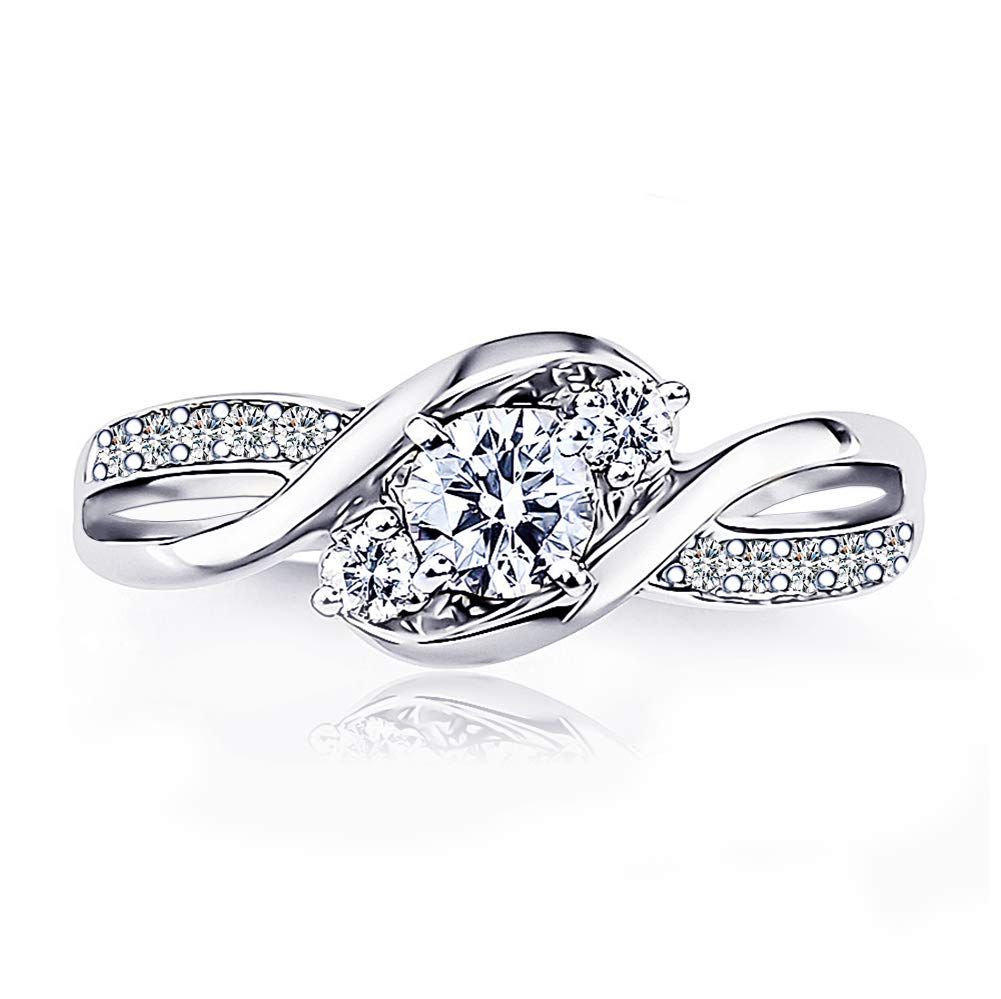 AndreAngel Wedding Ring Engagement Women White Gold Plated 18K 3 Microns Thickness Three Stones / 5 mm 0.5 Carat Round Cut Cubic Zirconia 5A+ Solitaire Valentine's Bridal Marriage Promise Proposal (6)
