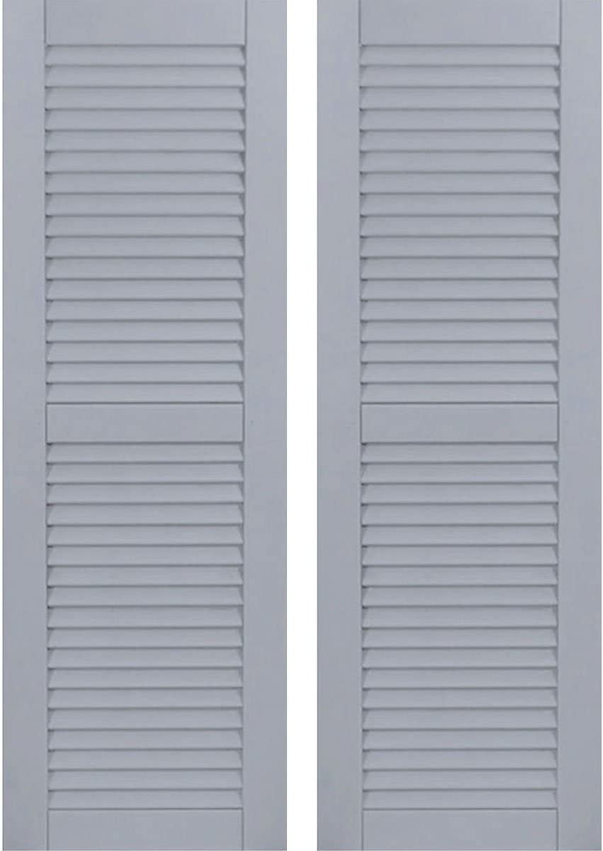 Ekena Millwork CWL15X071UNC Exterior Composite Wood Louvered Shutters with Installation Brackets Unfinished Per Pair 15W x 71H