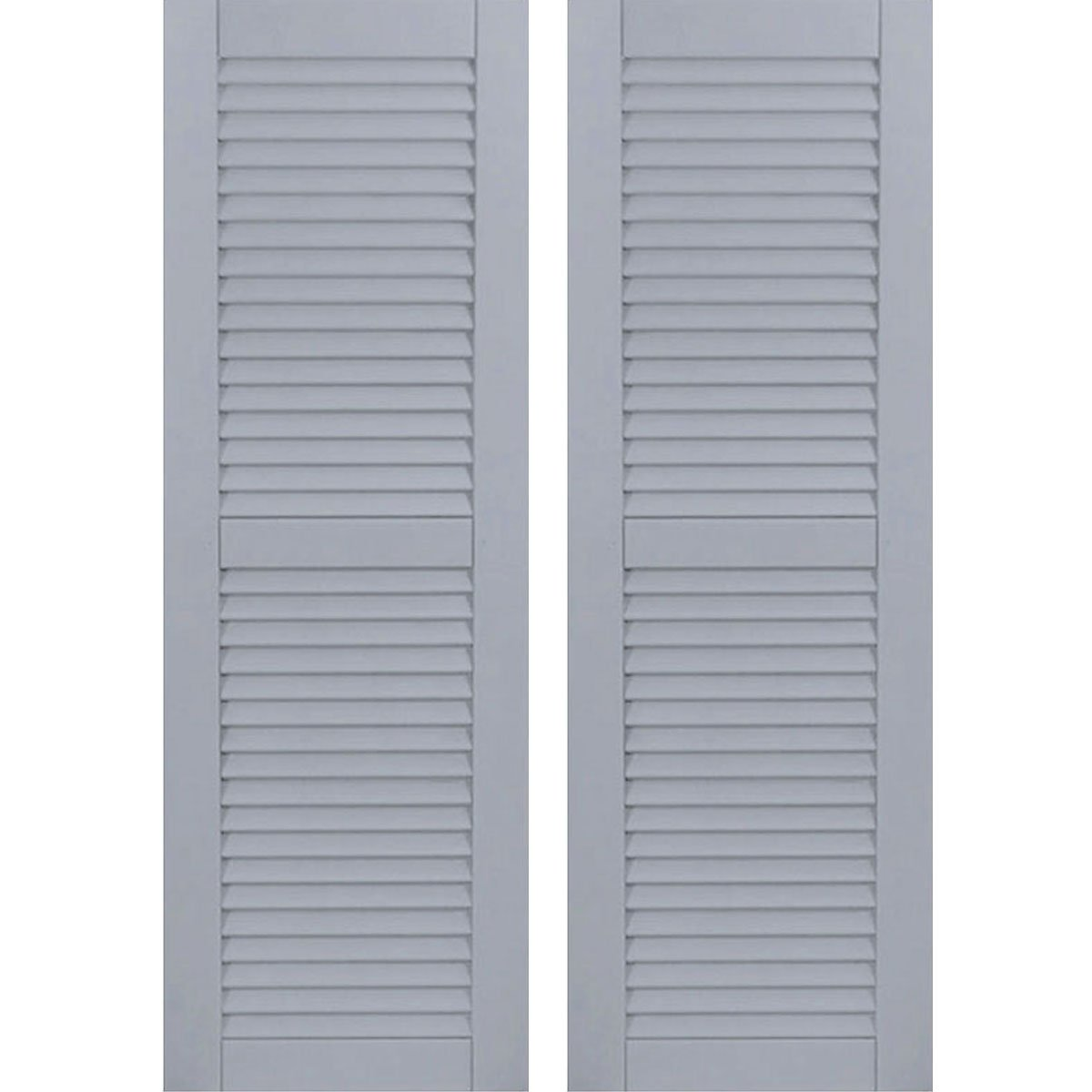 Ekena Millwork CWL18X060UNC Exterior Composite Wood Louvered Shutters with Installation Brackets (Per Pair), Unfinished, 18''W x 60''H