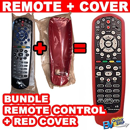 Bundle   Dish Network Remote Control And Rubber Protective Skin  Red  Controls Tv 1 Or Tv 2 Uhf Ir Compatible