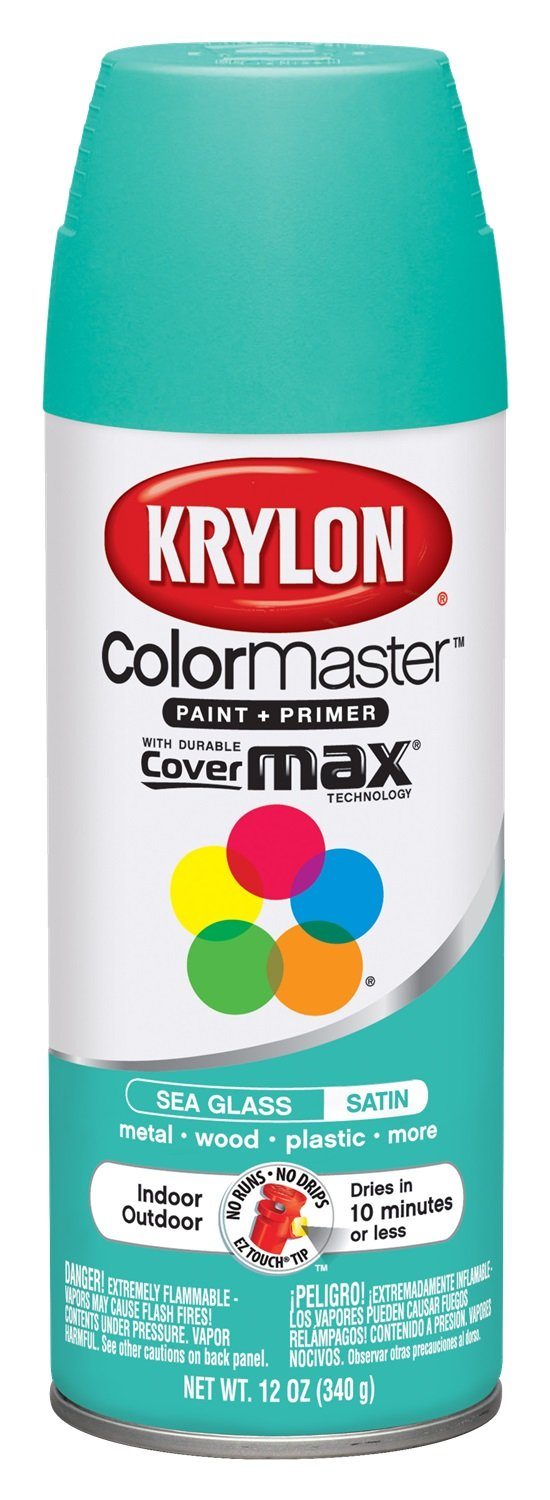 Krylon 1000A-53572 Colormaster Indoor/Outdoor Aerosol Paint Satin Sea Glass, 12 oz by Krylon