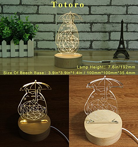 Creative 3D USB LED Table Acrylic Night Light Desk Table Lamp Fashion Home Decorations Beech Wood Base Bedroom Decor Accessories (Totoro)