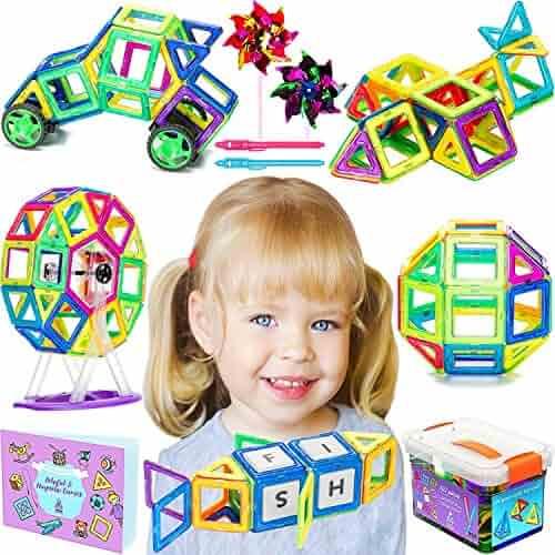 Magnetic Blocks for Kids - Magnet Building Tiles Toy |3D| Best 102 BPA Free Educational Toys