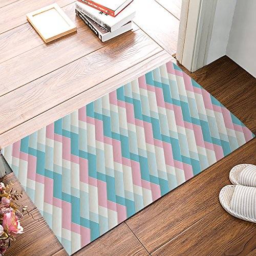 (OneHoney Pink and Blue Chevron Door Mats Kitchen Floor Bath Entrance Rug Mat Absorbent Indoor Bathroom Decor Doormats Rubber Non Slip)