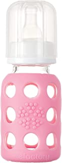 product image for Lifefactory 4-Ounce BPA-Free Glass Baby Bottle with Protective Silicone Sleeve and Stage 1 Nipple, Pink