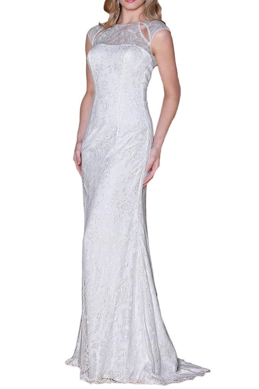 La_mia Braut 2016 Neu Weiss Spitze Kurzarm Abendkleider Hochzeitskleider Brautkleider Bodenlang mit kurz Schleppe