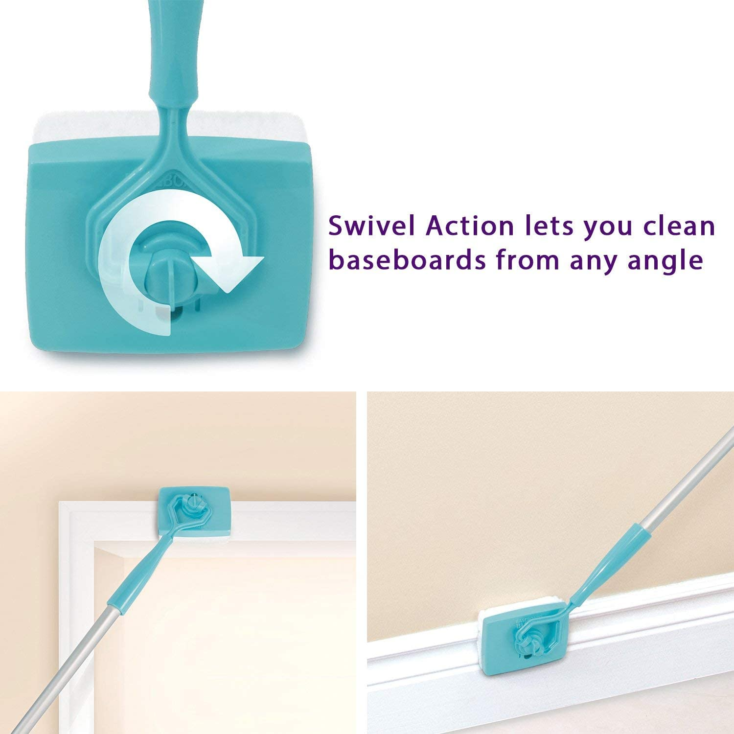 Baseboard Cleaning Mop Walk Glide Extendable Microfiber Dust Brush Cleaner