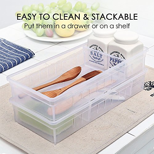 Drawer Organizer, Anumit Clear Plastic Storage Drawers with 2 Adjustable Drawer Dividers for Office, School, Kitchen, Dresser, Desk, Bedroom (2 Pack) by Anumit (Image #2)