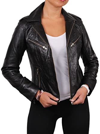 Nova Wears Womens Lambskin Leather Jacket X-Small Black
