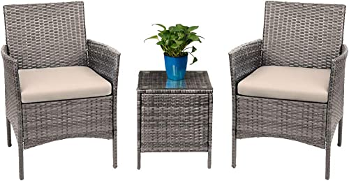 Devoko 3 Pieces Patio Furniture Sets Clearance PE Rattan Wicker Chair
