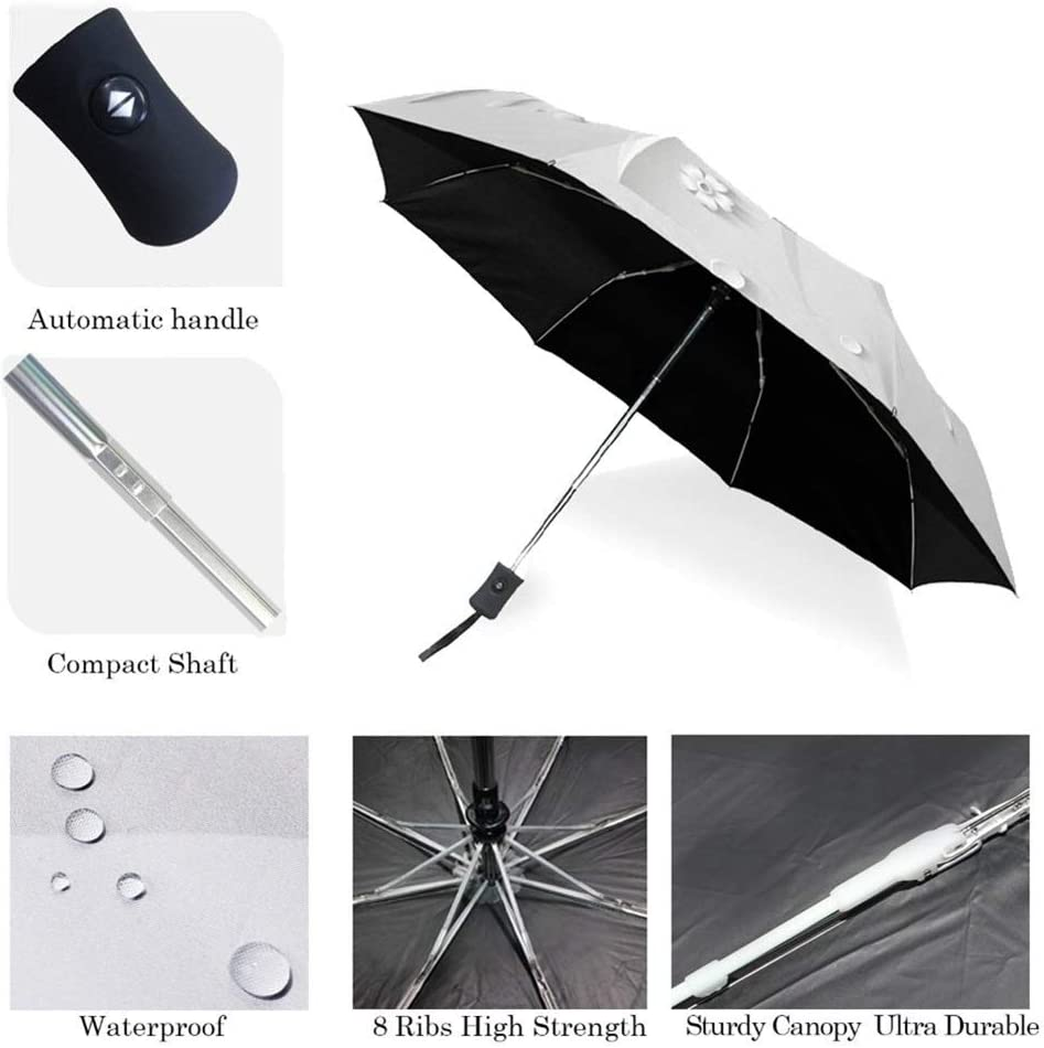 Color : Item4 XIANGNAIZUI Full Automatic 3D Floral White Chinese Sun Umbrella 3 Folding Umbrella Rain Women Anti UV Outdoor Travel