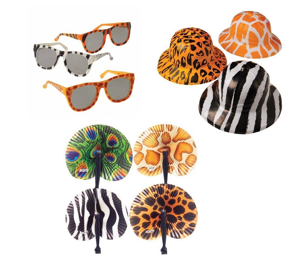 Safari Wild Animal Toy Party Favor Supplies 36 Piece Set for 12 Bundle Hats Folding Fans Sunglasses