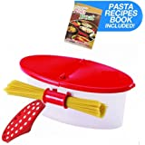 Hot Pasta Boat | Versatile Microwave Pasta Cooker Vegetable Steamer Boat Strainer with Recipe Book | Sturdy Food Grade Heat Resistant PP Material | Effortless Usage Anti Mess No Stick Colander | Massive Capacity Up To 5 Pound | Vibrant Red