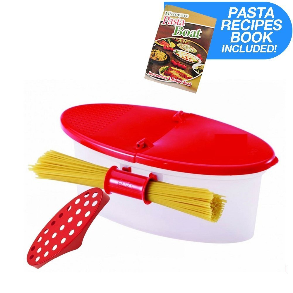 Hot Pasta Boat | Versatile Microwave Pasta Cooker Vegetable Steamer Boat Strainer with Recipe Book | Sturdy Food Grade Heat Resistant PP Material | Effortless Usage Anti Mess No Stick Colander | Massive Capacity Up To 5 Pound | Vibrant Red SYNCHKG064844