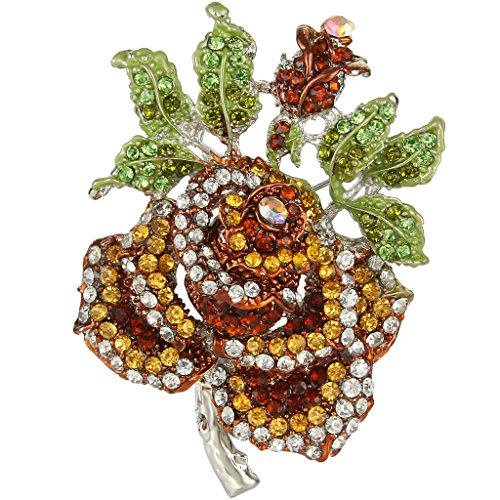 Brown Silver Brooch - EVER FAITH Mothers' Gifts Austrian Crystal Enamel Rose Flower Leaf Brooch Yellow w/Brown Silver-Tone